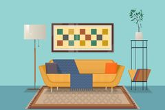 Living room interior design with furniture ouch, pillows, chest of shelves, books, decorations. Isolated vector objects.Flat vecto stock illustration
