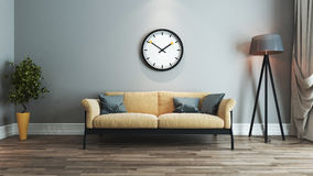 Living room interior design idea with watch. Living room interior design with yellow and black seat and watch on wall 3D rendering Stock Photo