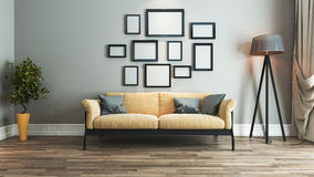 Living room interior design idea. Living room interior design with yellow and black seat and picture frame on wall 3D rendering Royalty Free Stock Photography