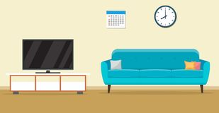 Living room interior design. With furniture sofa, tv, clock. Vector illustration in flat style Stock Photography