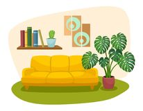 Living room interior design with sofa bookshelf and tropical plant. Vector illustration. Living room interior design with sofa bookshelf and tropical plant Royalty Free Stock Photography