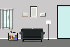 Living room interior design. Room, living, interior, vector, modern, background, illustration, home, design, lifestyle, table, furniture, lamp, sofa, decoration Royalty Free Stock Photos