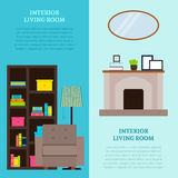 Living Room Interior Design Vertical Banners. With bookcase armchair lamp fireplace mirror and accessories vector illustration Stock Images