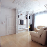 Living Room Interior Design With White Leather Sofa Royalty Free Stock Image