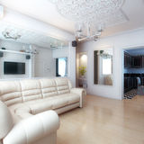 Living Room Interior Design With White Leather Sofa Royalty Free Stock Photography