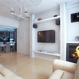 Living Room Interior Design With White Leather Sofa Stock Photography