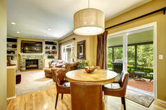 Living room interior with dining table Royalty Free Stock Images