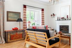 Living room interior, english - country syle. stock photo