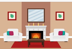 Living room interior with fireplace. The interior of cozy living room with two white armchairs and fireplace in flat style. Vector illustration Stock Images