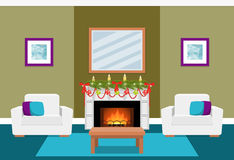 Living room interior with fireplace. Flat vector illustration. Living room interior with fir-tree on fireplace. Christmas design. Vector in flat style including Stock Images