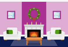 Living room interior with fireplace. Flat vector illustration. Living room interior with fir wreath, fireplace. Christmas design. Vector in flat style including Royalty Free Stock Images