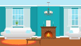 Living room interior with fireplace, furniture and windows. Domestic room design with burning fire in furnace. Hot drinks and desserts on a table. Vector Stock Photography