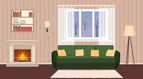 Living room interior with fireplace, sofa, lamps. And bookshelf. Domestic room design at evening with burning fire and window. Vector illustration Stock Photography