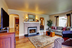 Living room interior with fireplace Royalty Free Stock Photography