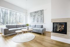 Living room interior with fireplace. Wooden table on a round rug near sofa in spacious living room interior with fireplace and painting Stock Image