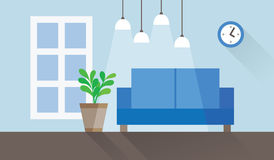 Living room interior flat vector illustration Royalty Free Stock Photo