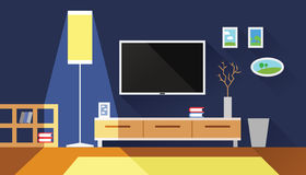 Living room interior flat vector illustration Royalty Free Stock Images