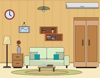 Living room interior flat vector illustration. Living room concept with wardrobe; sofa; coffee table; vase; picture; shelf; air conditioning. Room apartment royalty free illustration