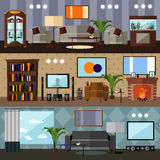 Living room interior with furniture. Concept vector illustration in flat style. Royalty Free Stock Photos