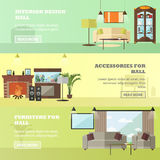 Living room interior with furniture. Concept vector illustration in flat style.  Stock Photos