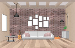 Living room interior with furniture in hipster style with empty frames, sofa, lamps, guitar and brick wall. Indoor design concept. Vector illustration vector illustration