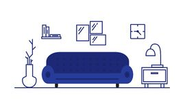 Living room interior. Furniture in the room: sofa, couch, bedside table. The atmosphere of a modern apartment. royalty free illustration