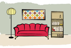 Living room. Interior furniture with sofa, floor lamp, book shelf Royalty Free Stock Photography