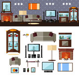 Living room interior with furniture. Vector. Living room interior with furniture. Concept vector illustration in flat style. Home related design elements and Stock Images