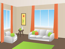 Living room interior green orange yellow white sofa armchair window illustration Stock Image