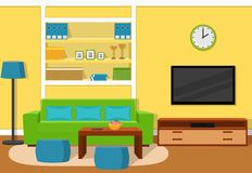 Living room interior with green sofa. Vector illustration. The interior of cozy living room with green sofa, turquoise accents and yellow wallpaper. Vector Stock Image