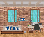 Living room interior in hipster style with brick wall, sofa, workplace, boofshelf and windows. Stock Photos