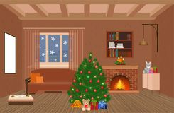 Living room interior holiday design with fireplace, christmas tree and gifts in hipster style. Christmas domestic decor. Vector illustration Stock Photography