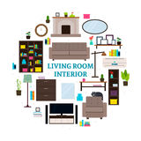 Living Room Interior Icons Round Concept Royalty Free Stock Photography