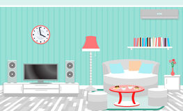 Living room interior including furniture, air conditioning and home theater. Royalty Free Stock Images