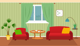 Living room interior including furniture, cityscape in window Stock Images