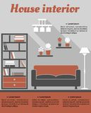 Living room interior infographic template stock illustration