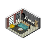 Living room interior. In isometric view. Illustration of loft apartment with brick wall Royalty Free Stock Image