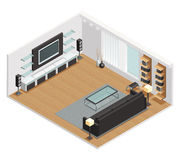 Living Room Interior Isometric View Poster vector illustration