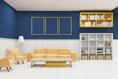 Living room interior with large sofa, armchairs, shelves and bookcases. Royalty Free Stock Images