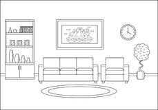 Living room interior in line art flat design. Vector illustration.