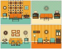 Living room interior in line art. Retro linear vector illustration.