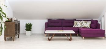 Living room interior, loft apartment, attic renovation, purple f royalty free stock images