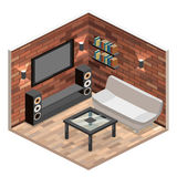 Living room interior . loft apartment with brick wall. Royalty Free Stock Photography