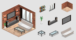 Living room interior . loft apartment with brick wall. Royalty Free Stock Image