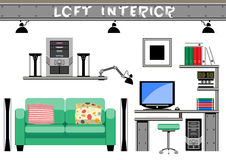 Living room interior loft Royalty Free Stock Image