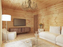 Living room interior in a log house with the console and TV. Royalty Free Stock Photo