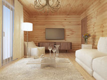 Living room interior in a log house with the console and TV. Royalty Free Stock Image