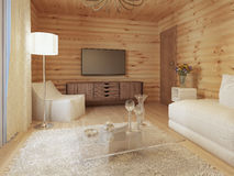 Living room interior in a log house with the console and TV. Royalty Free Stock Photography