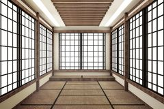 Living room interior in and minimal design with Tatami mat floor and Japanese, empty room interior, 3D rendering. Mock up living room interior in and minimal stock illustration