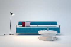 Living-room interior in minimalism style, 3d Royalty Free Stock Photo